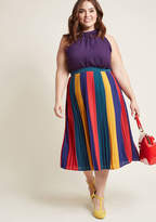 Pleated Chiffon Midi Skirt in Colorblock in 4X - A-line by ModCloth