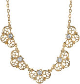 1928 Jewelry Crystal Gold-Tone Filigree Necklace