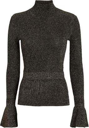 Veronica Beard Lilia Lurex Rib Knit Turtleneck