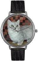 Whimsical Watches Women's T0120047 Munchkin Cat Black Leather And Silvertone Photo Watch
