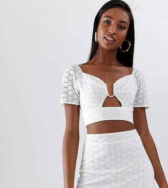 Fashion Union Tall ring front crop top in broderie co-ord-White