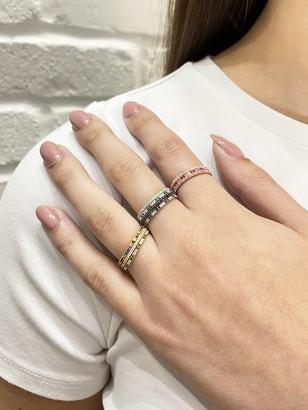 Ileana Makri Green and White Diamond Thread Stripes Yellow Gold Band Ring