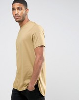 Asos Super Longline T-Shirt With Curved Hem In Beige