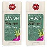 Jason JĀSÖN Soothing Aloe Vera Deodorant Stick (Pack of 2) with Grapefruit Seed Extract, Aloe Vera Leaf Juice and Vitamin E, No Aluminum, Phthalates or Propylene Glycol, 2.5 oz.