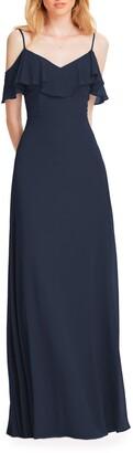 #Levkoff Ruffle Shoulder Chiffon Gown