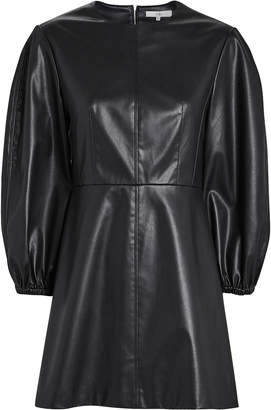 Tibi Faux Leather Puff Sleeve Mini Dress