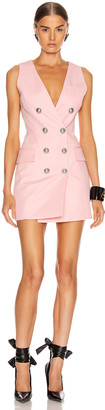 Balmain Sleeveless Button Mini Dress in Rose Pale | FWRD