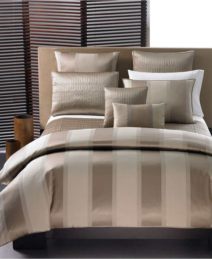 """Hotel Collection CLOSEOUT! Wide Stripe Bronze"""" Quilted Coverlet, King"""