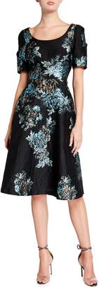 Rickie Freeman For Teri Jon Draped Short-Sleeve Jacquard A-Line Dress