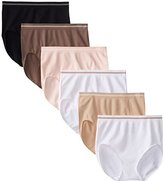 Ellen Tracy Women's Seamless Flawless Fit Full Brief Panty (Pack of 6)