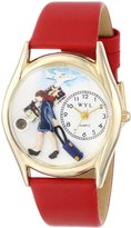 Whimsical Watches Women's C0630004 Classic Gold Flight Attendant Red Leather And Goldtone Watch