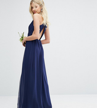 TFNC Pleated Maxi Bridesmaid Dress With Back Detail-Navy