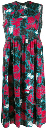 Marni leaf print midi dress