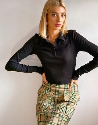 Weekday Erin organic cotton long sleeve polo top in black
