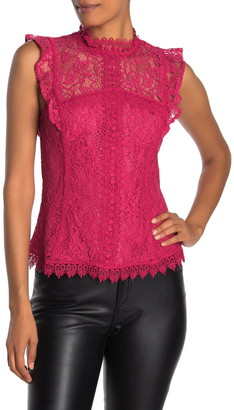 Laundry by Shelli Segal Mock Neck Sleeveless Ruffled Lace Top