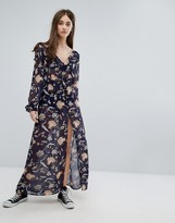 Brave Soul Long Sleeve Printed Dress With Slit