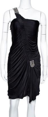 Roberto Cavalli Black Jersey Embellished One Shoulder Mini Dress M