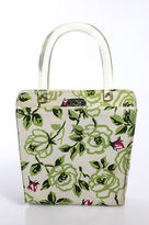 Lulu Guinness Multi-Color Canvas Turn Lock Closure Floral Shoudler Bag Small
