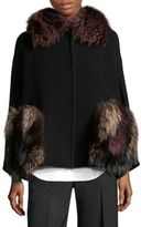 Aquilano Rimondi Virgin Wool Fox Fur Cape Coat