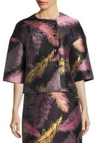 Emilio Pucci Cropped Three-Quarter Sleeve Jacquard Jacket