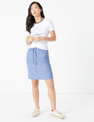 Marks and Spencer Linen Mini Slip Skirt