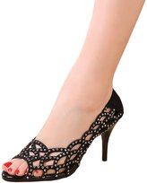 fereshte Womens Sparkle Crystal Sandals Peep Toe Stiletto Sandals Cutouts Party Dress High Heels 6CM Black US Size 6