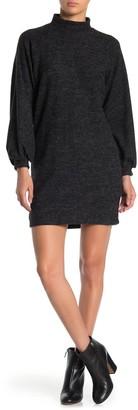 Lush Heathered Mock Neck Brushed Sweater Dress