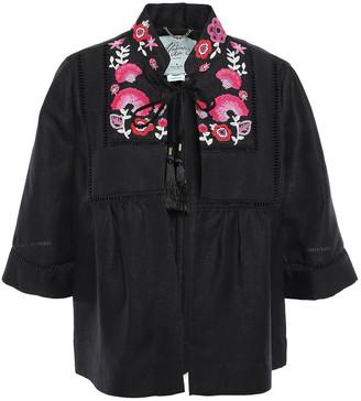 Kate Spade Tassel-trimmed Embroidered Linen-blend Jacket