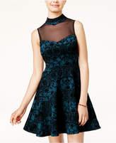 Trixxi Juniors' Flocked Illusion Fit and Flare Dress
