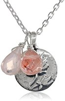 Satya Jewelry Rose Quartz Sterling Silver Lotus Charm Necklace, 18 inches