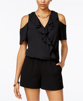BCX Juniors' Ruffled Cold-Shoulder Romper