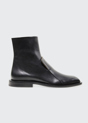 Jil Sander Flat Leather Ankle Boots