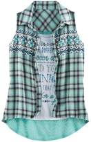 Knitworks Girls 7-16 Plaid Shirt & Graphic Tank Set