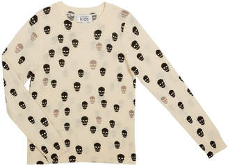 Autumn Cashmere Two-Tone Skull Print Sweater, Size 8-16
