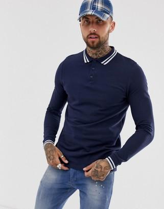 Asos Design DESIGN long sleeve tipped pique polo shirt in navy