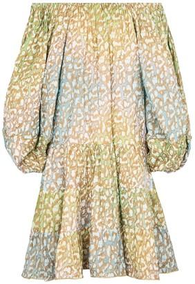 Juliet Dunn Printed cotton off-shoulder minidress