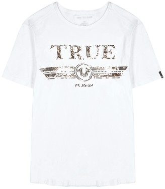 True Religion White sequin-embellished cotton T-shirt