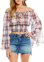 Chelsea & Violet Plaid Off-the-Shoulder Crop Top