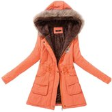 BULUOLANDI Women's Fur Hooded Cotton-Padded Long Parka