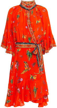 Camilla Cinema Paradiso Embellished Printed Silk Crepe De Chine Mini Wrap Dress