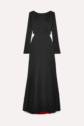 Temperley London Betty Cutout Satin-jacquard Gown - Black