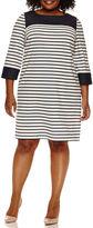 Studio 1 3/4 Sleeve Stripe Sheath Dress-Plus