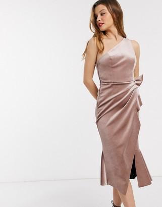 ASOS DESIGN velvet one shoulder tuck detail midi dress