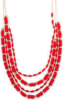 Nine West Gold-Tone Red Bead Multi-Row Necklace