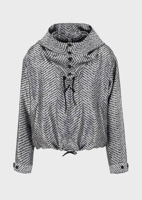 Emporio Armani Mixed Linen-And-Silk Blouson With Jacquard Chevron Motif