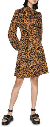Cue Abstract Spot Tie Neck Dress