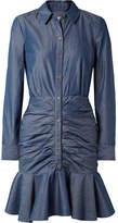 Veronica Beard Ruched Cotton-chambray Mini Dress - Dark denim
