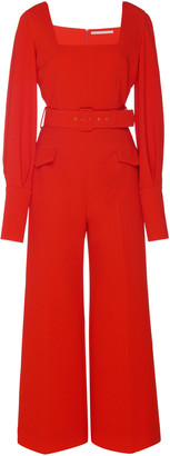 Emilia Wickstead Patrice Belted Stretch-Cady Jumpsuit