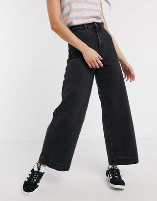 ASOS DESIGN High rise 'easy' wide leg jeans in black