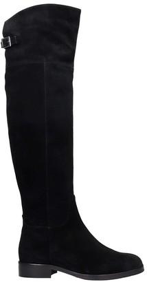 Fabio Rusconi Low Heels Boots In Black Suede